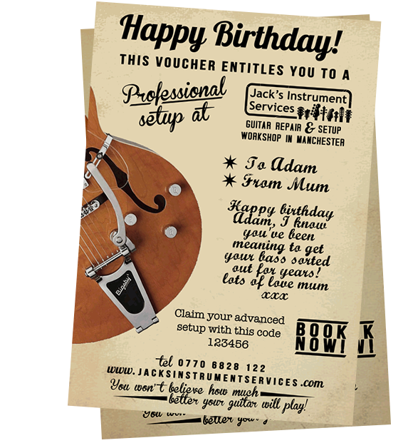 A seriously cool present idea. Available to print with your own personalised message on. Buy your guitar setup voucher today!